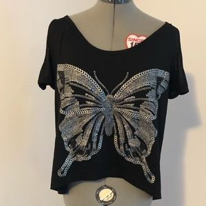 Paper Tee butterfly black cold shoulder top XL
